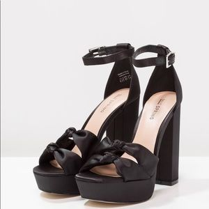 Call it spring black double knot chunky heels 8